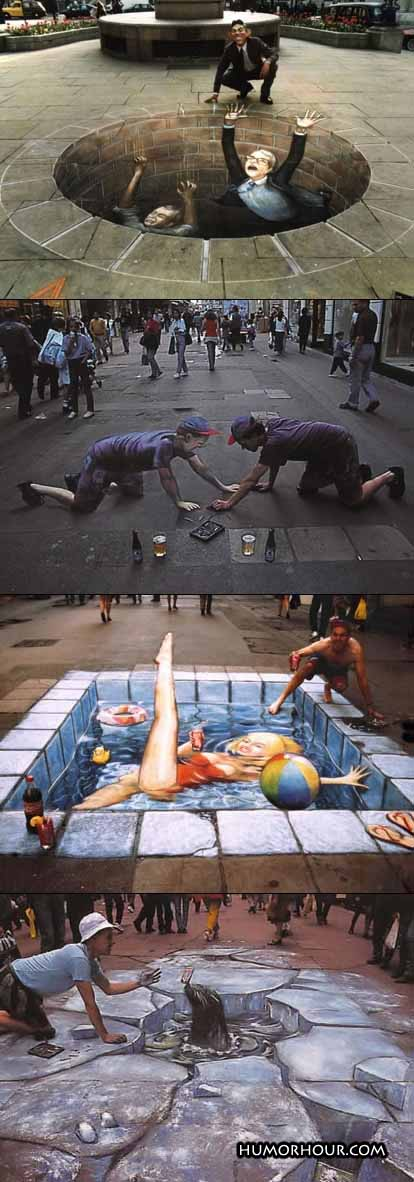 Realistic street paintings
