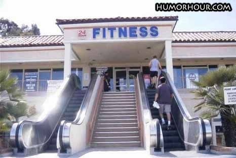 Sporty fitness centre entrance