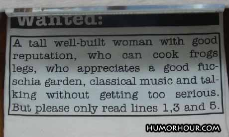 Tall well-built woman wanted